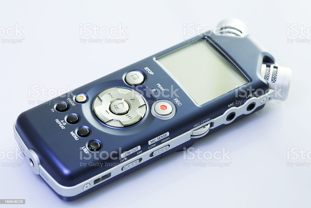 blue mobile pocket spy recorder royalty-free stock photo