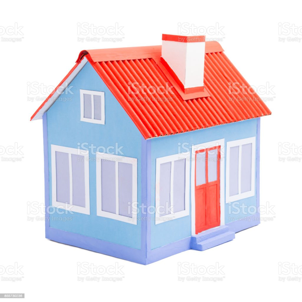 A Blue Model Of House With Red Roof And Door Isolated On White