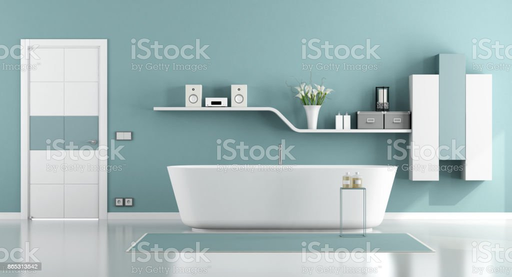 Blue moder bathroom - foto stock