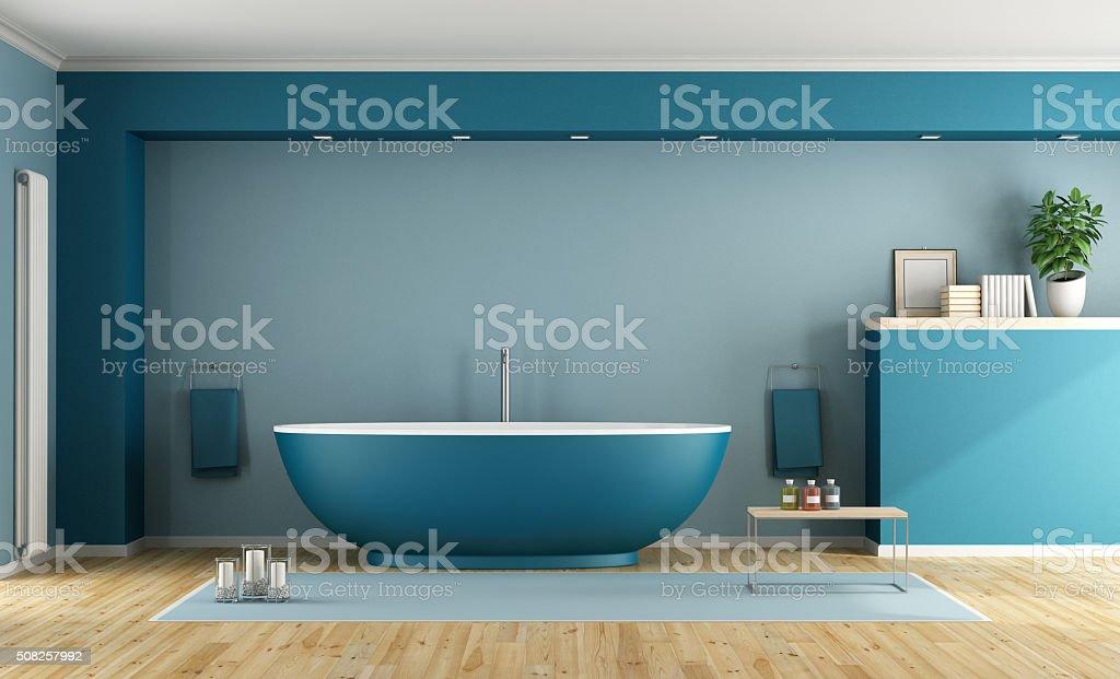 Blue modern bathroom stock photo