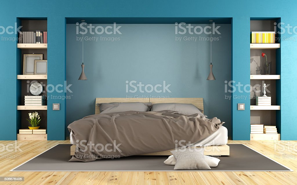 Blue modern bedroom stock photo