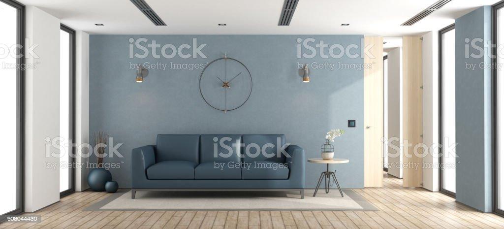 Blue modern living room - foto stock