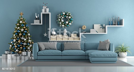 istock Blue modern living room with christmas tree 821973012