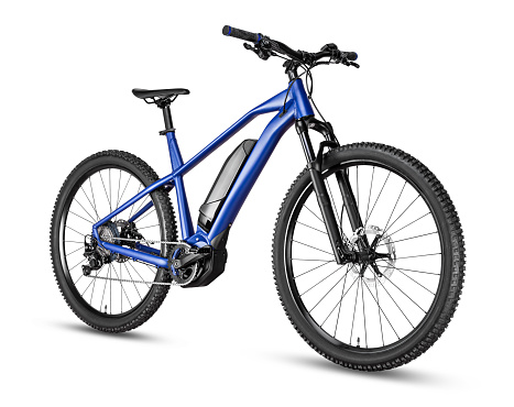 blue modern mid drive motor e bike pedelec with electric engine middle mount. battery powered ebike isolated on white background. Innovation transportation concept.