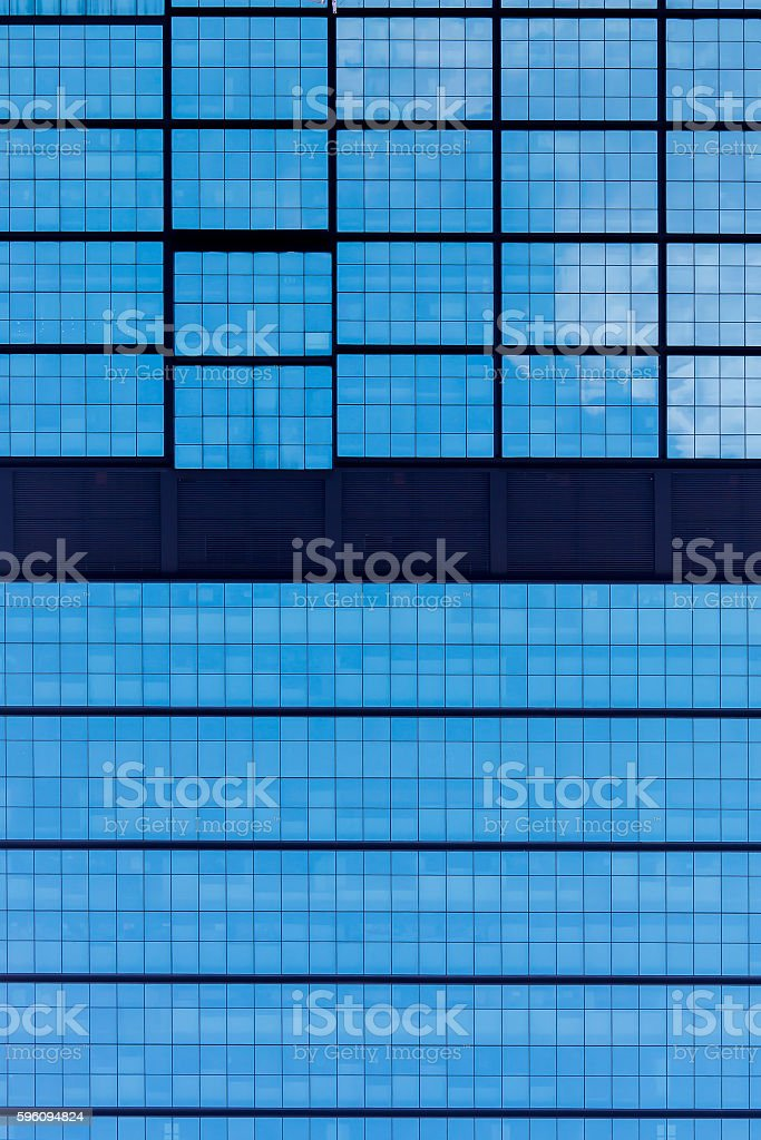 Blue modern office windows background Lizenzfreies stock-foto