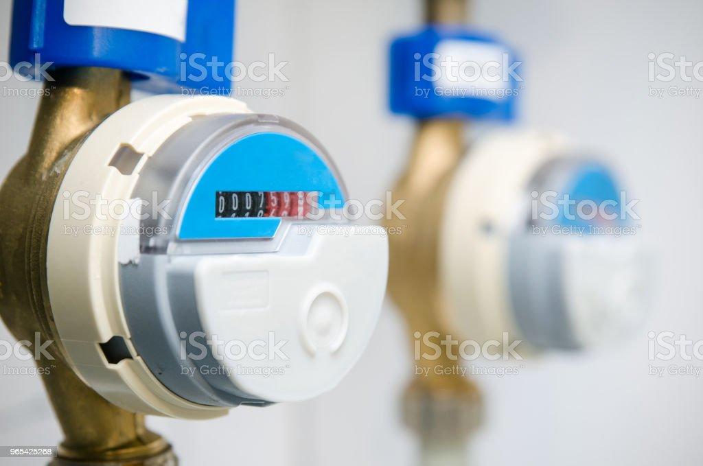 Blue modern radio water counter meter royalty-free stock photo