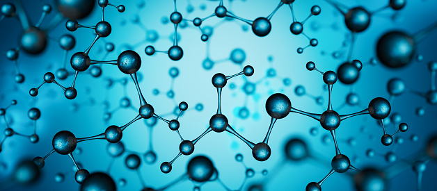 Blue molecule structure background. Cells and biological chain abstract concept 3D render 3D illustration