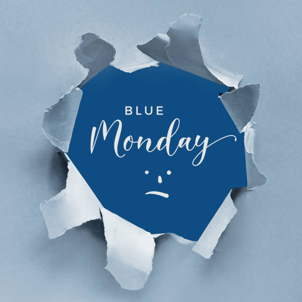 blue monday concept background with text and sad smile cartoon in torn paper hole. light and classic blue two tone design, broken torn paper, square composition. - blue monday foto e immagini stock