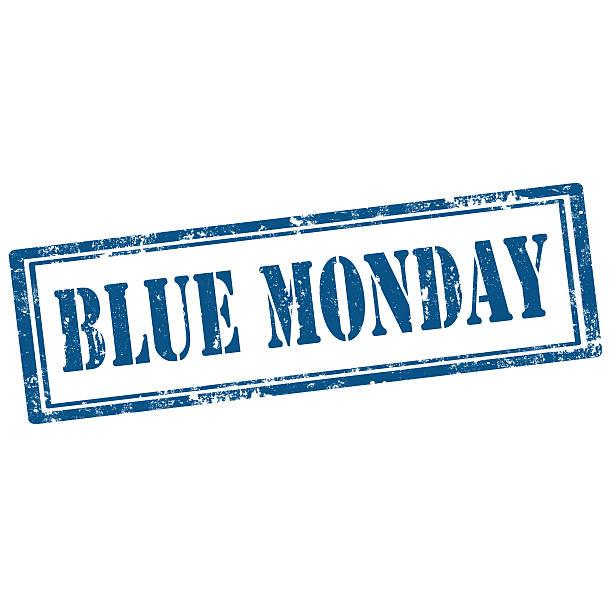 blu lunedì-stamp - blue monday foto e immagini stock