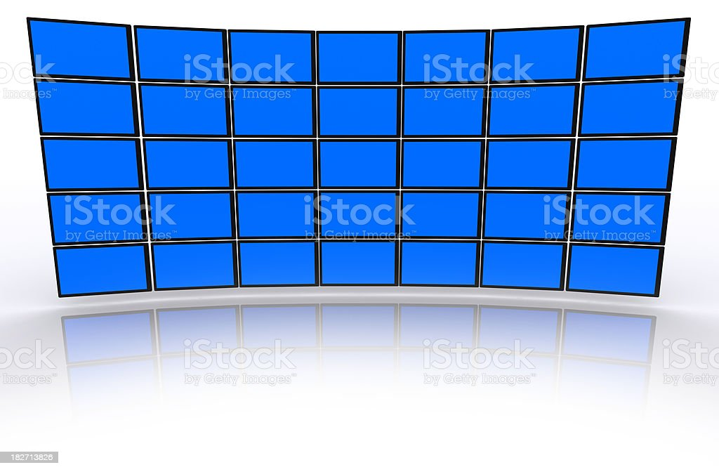 Blue Monitor Wall royalty-free stock photo
