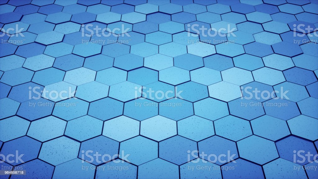 Blue monochrome floor surface made out of hexagon tiles royalty-free stock photo