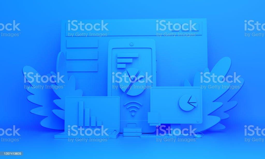 Contexte de travail monochrome bleu. Installation d'objets pour le travail au bureau. - Photo de A la mode libre de droits