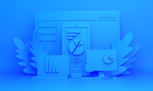 Photo libre de droit de Contexte De Travail Monochrome Bleu Installation Dobjets Pour Le Travail Au Bureau banque d'images et plus d'images libres de droit de A la mode