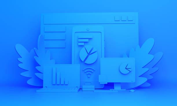 contexte de travail monochrome bleu. installation d'objets pour le travail au bureau. - fond couleur uni photos et images de collection