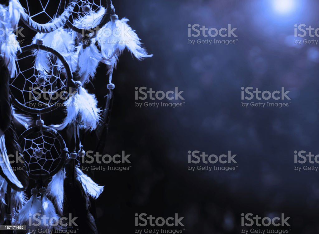 Blue moon - dreamcatcher with copy space stock photo