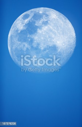 Full moon closeup showing the details of the lunar surface.