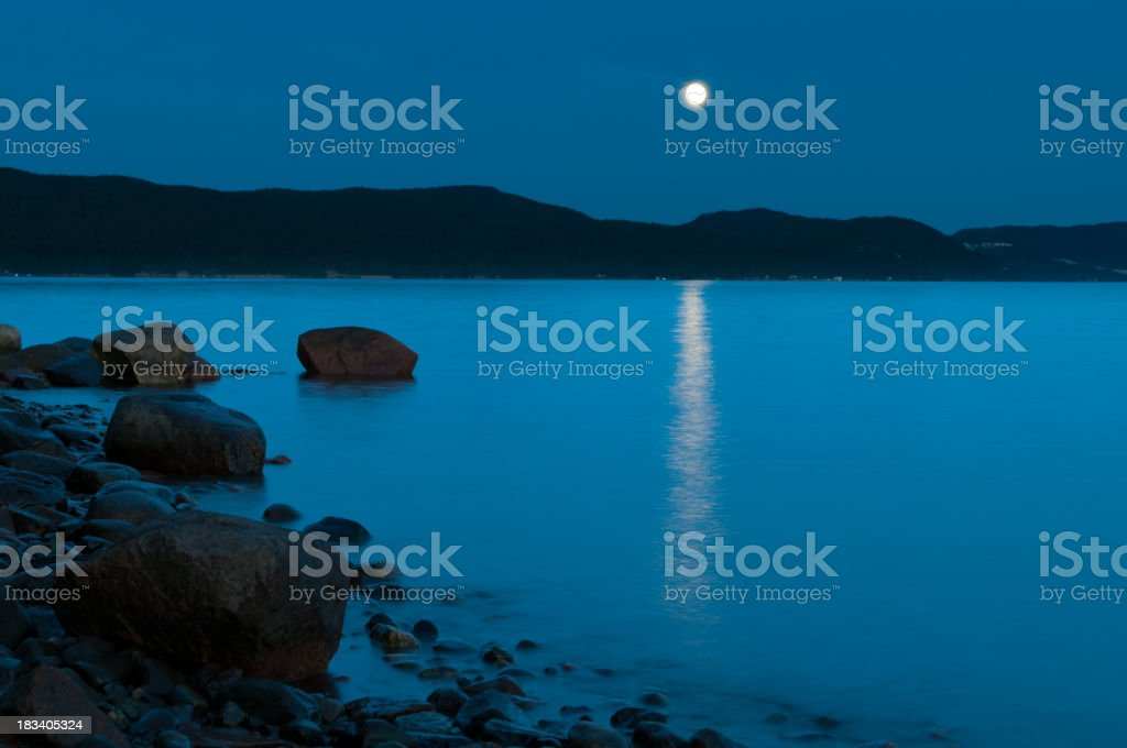 Blue calm night in the fjord.
