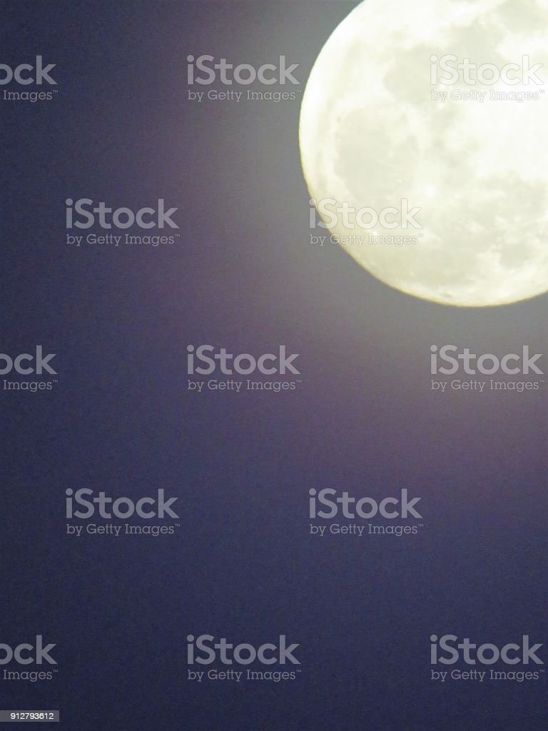 Blue moon, supermoon 1-30-2018 Texas USA stock photo