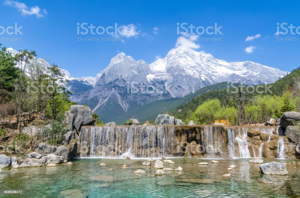 Blue Moon Valley in Jade Dragon Snow Mountain stock photo