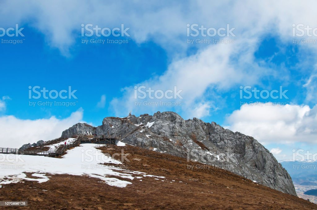 Blue moon valley snow Mountain with blue sky background in Yunnan,...