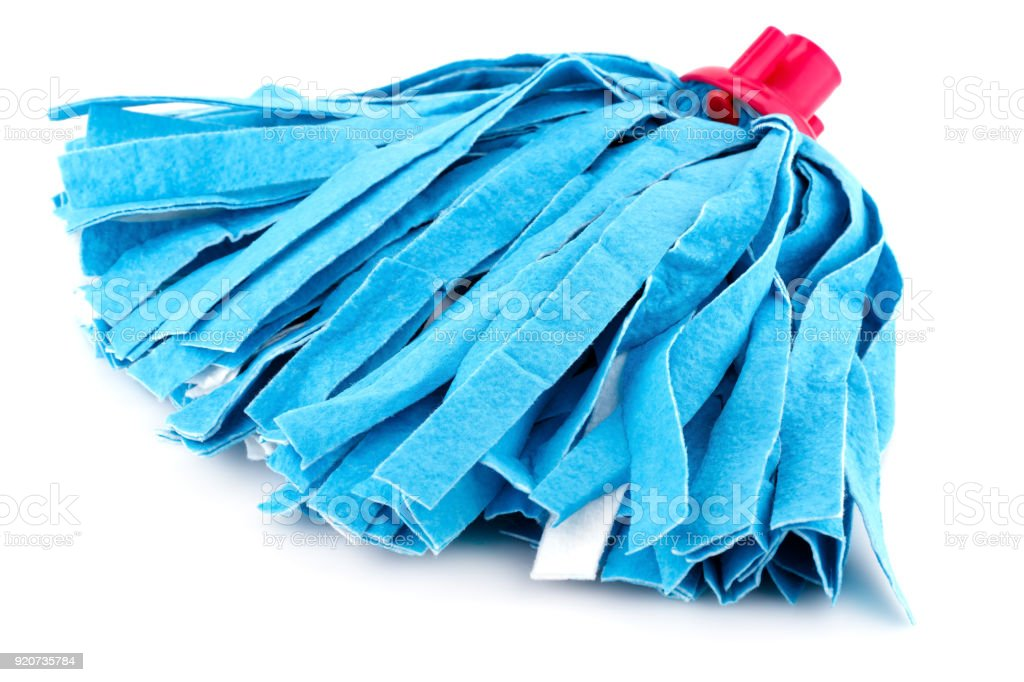 Blue mop stock photo