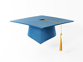 Blue Mortarboard Isolated on White Background