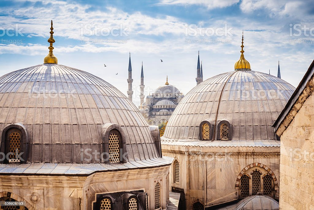 Blue Mosque And Aya Sofya, Istanbul - Royalty-free Aksungur Camii Stok görsel