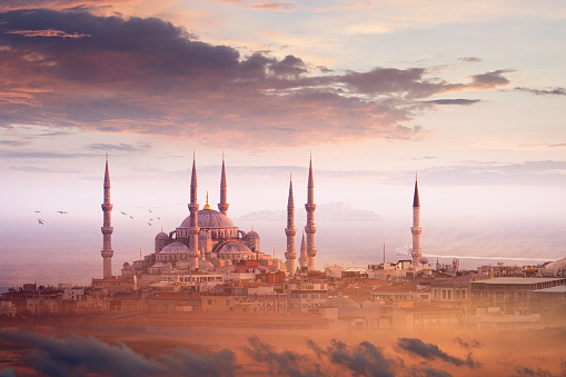 Beautiful sunset in Istanbul, Turkey. Blue Mosque most famous landmark of Istanbul is illuminated by pink sunset light.