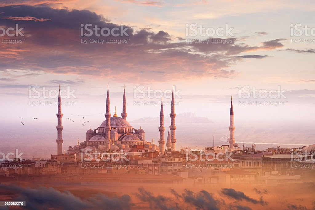 Blue Mosque and beautiful sunset in Istanbul, Turkey stock photo