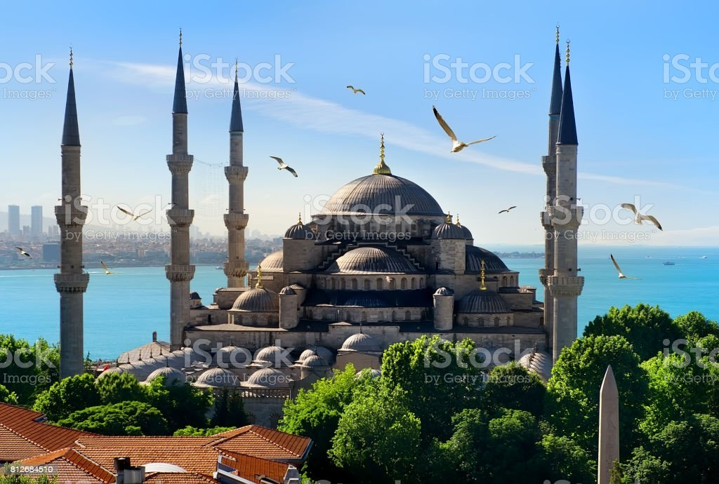 Blue Mosque and Bosphorus stock photo