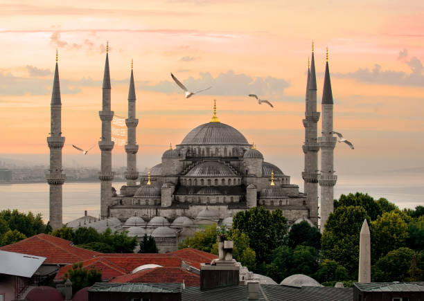 Blue Mosque and Bosphorus stock photo