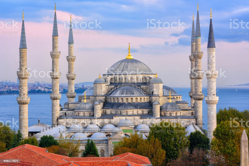 Blue Mosque and Bosporus, Istanbul, Turkey stock photo