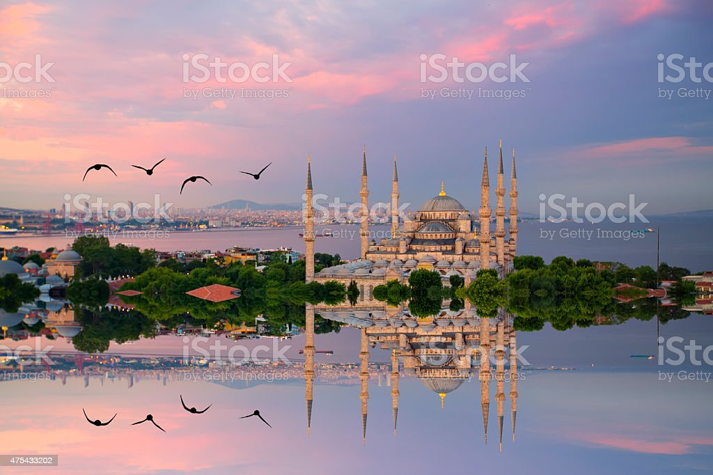 Blue mosque and hagia sophia stock photo