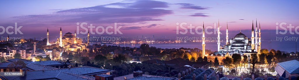 Blue Mosque and Hagia Sophie in Istanbul Turkey stock photo