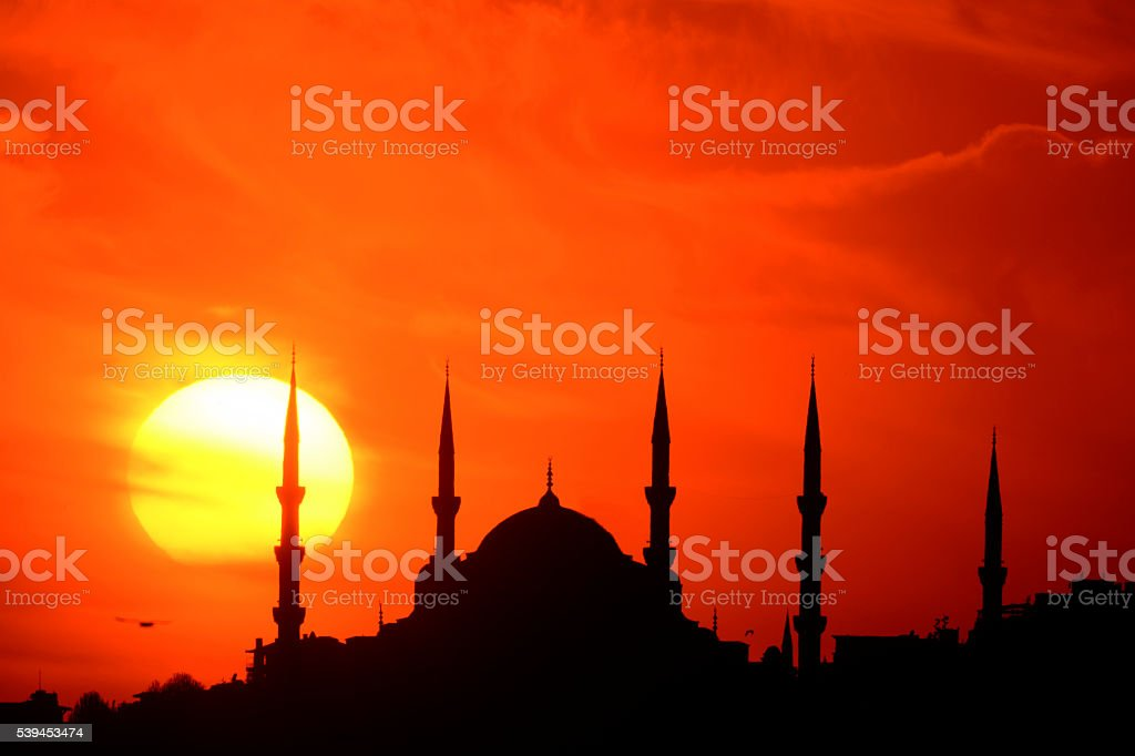 Blue Mosque and the sunset stock photo