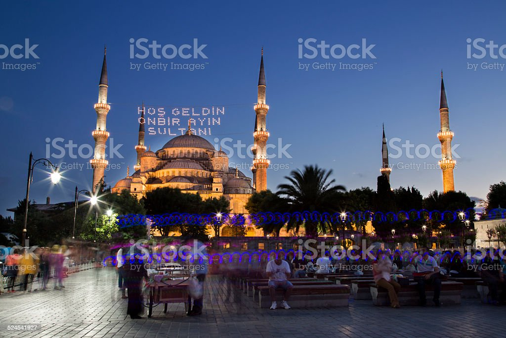 Blue Mosque (Sultanahmet Camii) at night in Istanbul, Turkey, 2014 stock photo