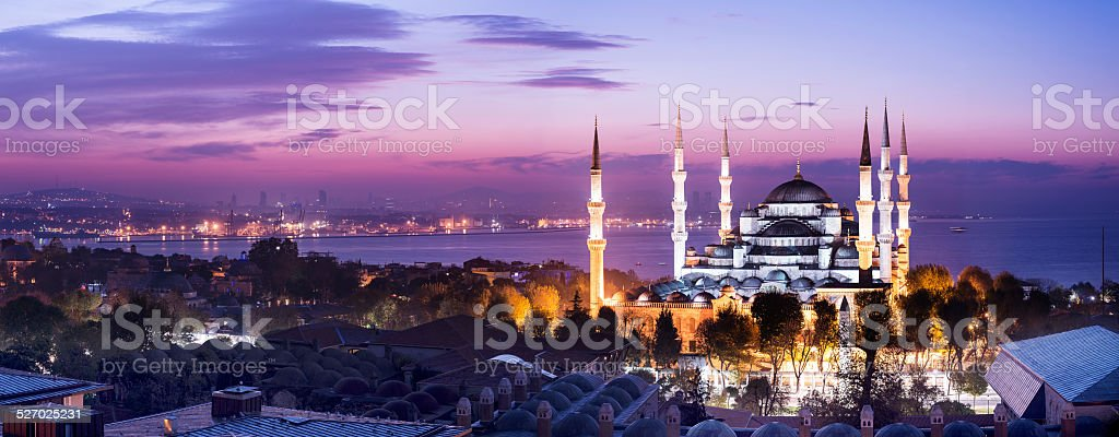 Blue Mosque at Night in Istanbul Turkey stock photo