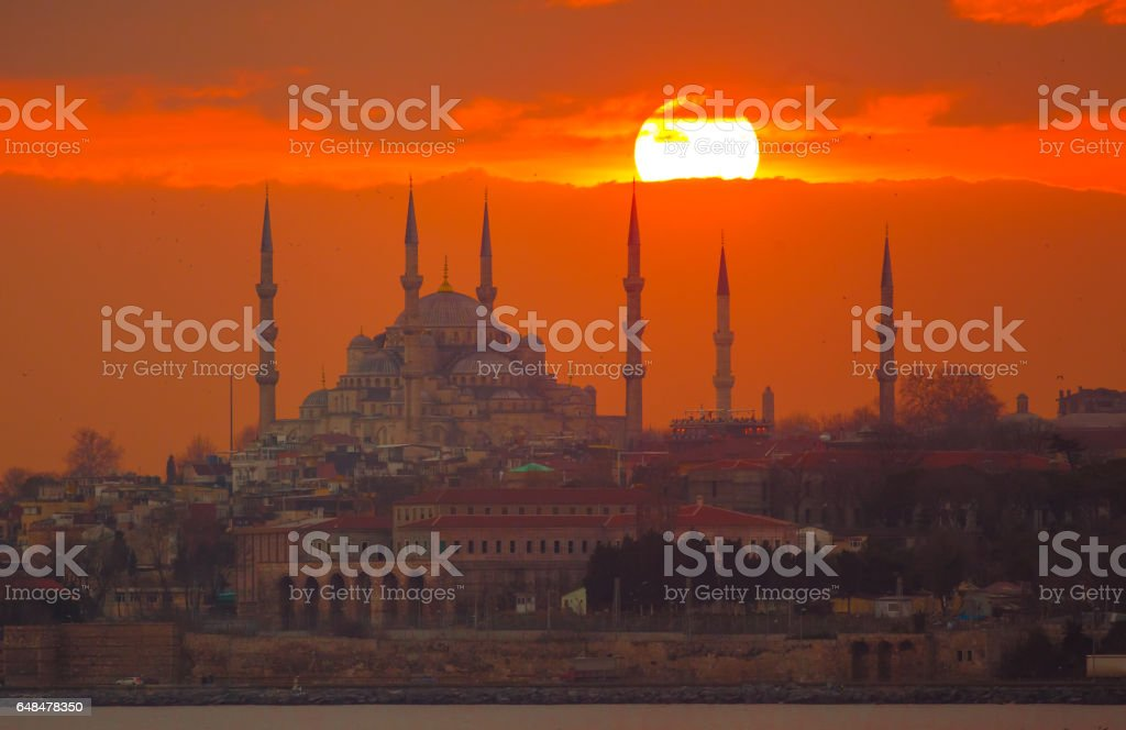 Blue mosque at sunset stock photo