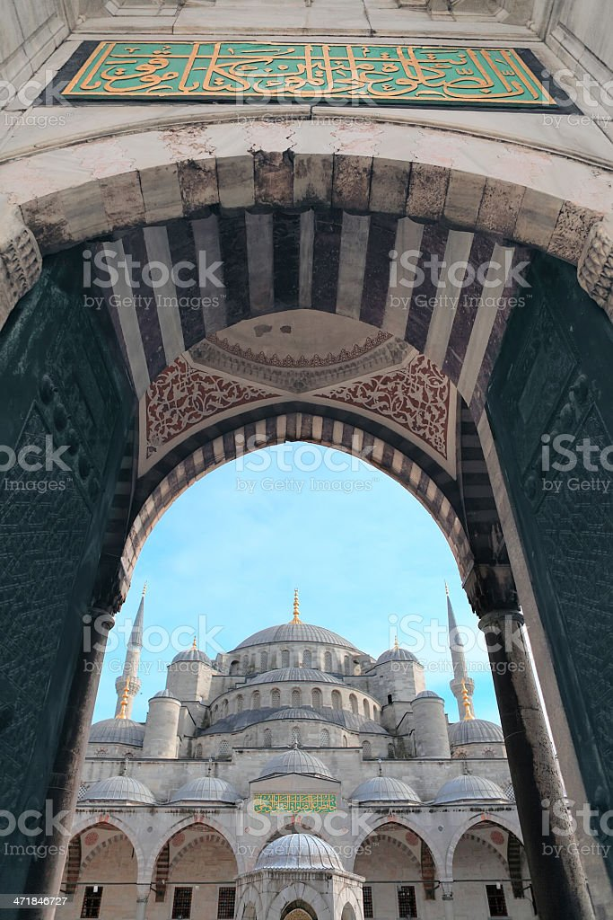 Blue Mosque Door Entry royalty-free stock photo