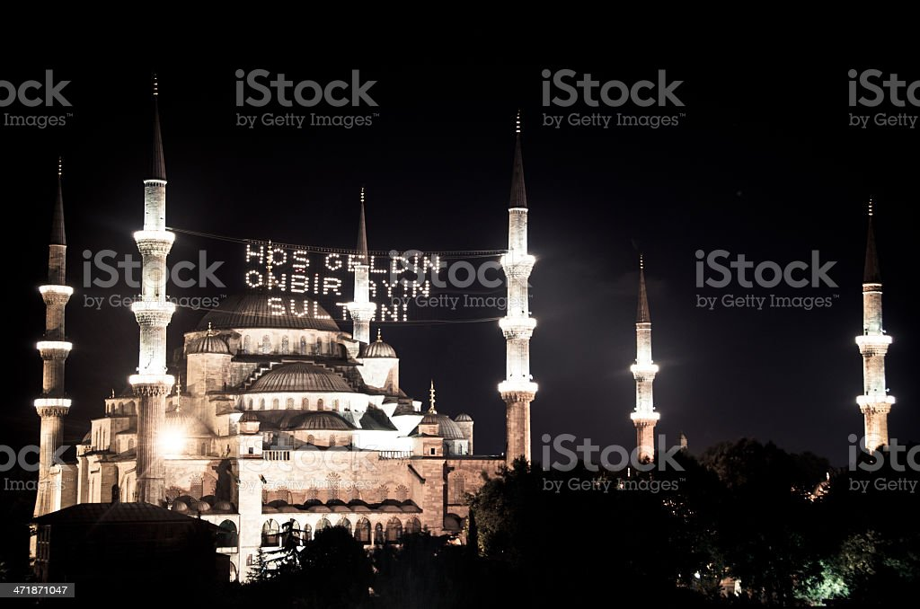 Blue Mosque in Istanbul at Night royalty-free stock photo