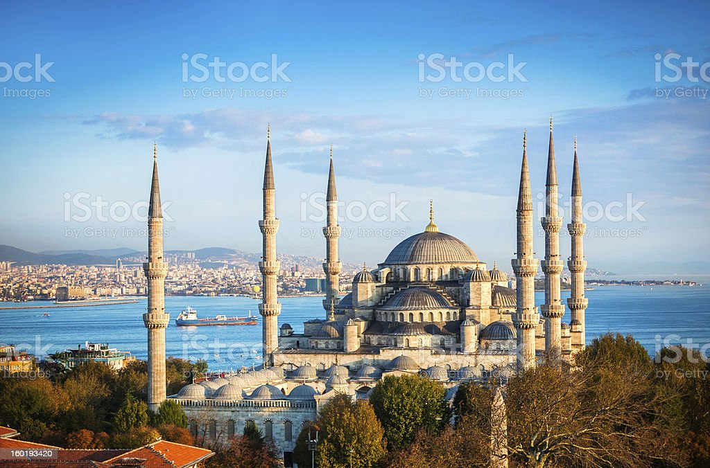 Blaue Moschee in Istanbul - Lizenzfrei Abenddämmerung Stock-Foto