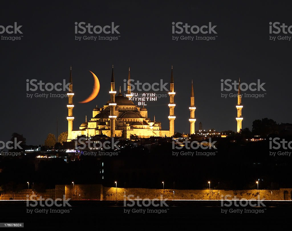 Blue mosque in Ramadan royalty-free stock photo