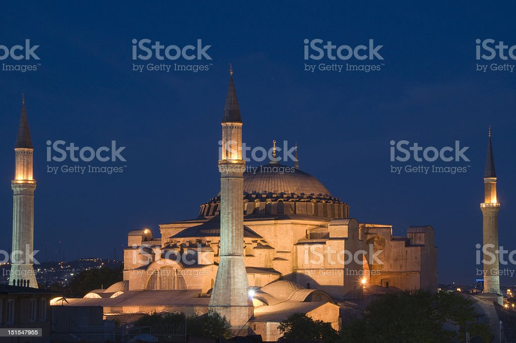 Blue mosque in the night royalty-free stock photo