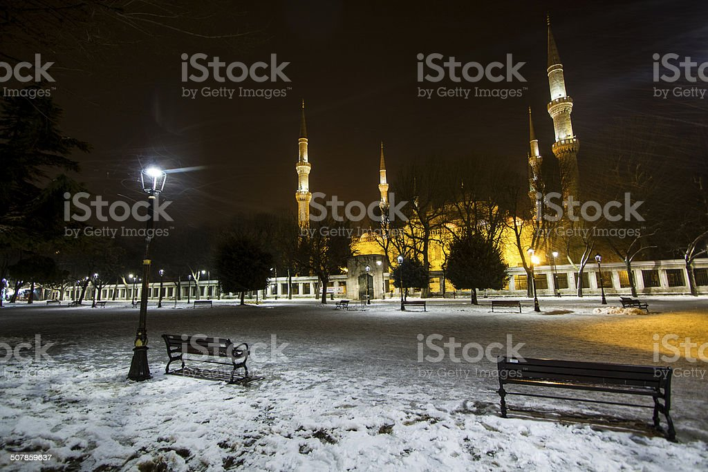 Blue Mosque in Winter stock photo