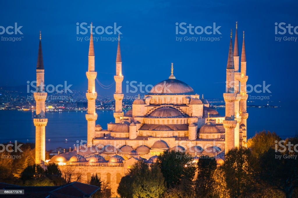 Blue Mosque Istanbul at Night Turkey royalty-free stock photo