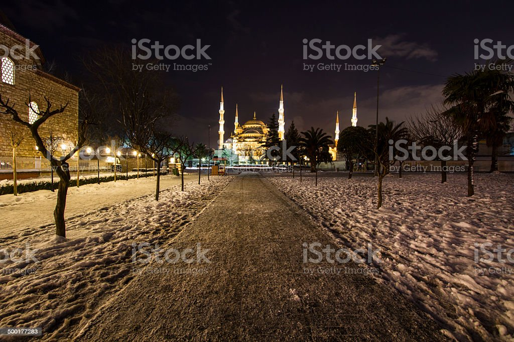 Blue mosque .Long exposure Night stock photo