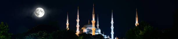 blue mosque or sultanahmet at night, istanbul, turkey - empire stock pictures, royalty-free photos & images