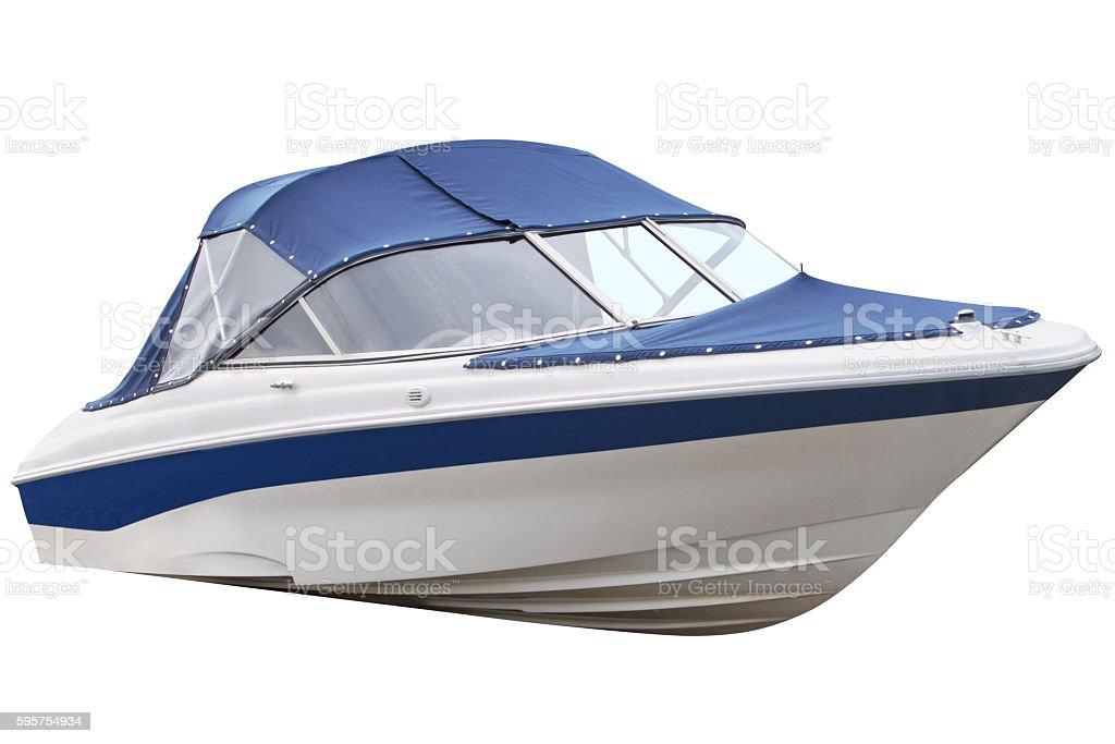 Blue motor boat. – Foto