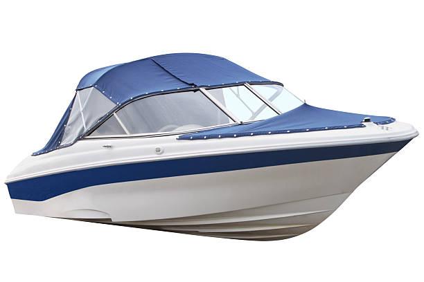 Blue motor boat. stock photo