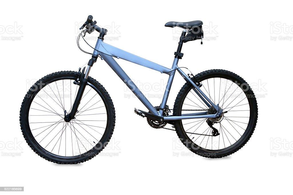 blue mountain bike isolated over white background stock photo